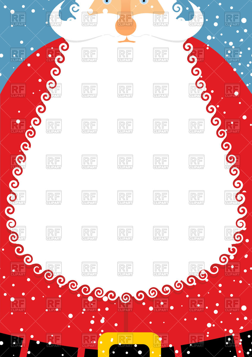 847x1200 Santa Claus With Beard. Christmas Postcard. Vector Image Vector