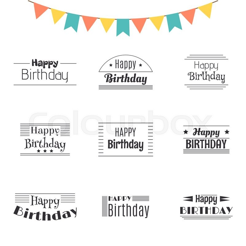 800x800 Set Of Happy Birthday Greeting Cards. Birthday Theme Labels
