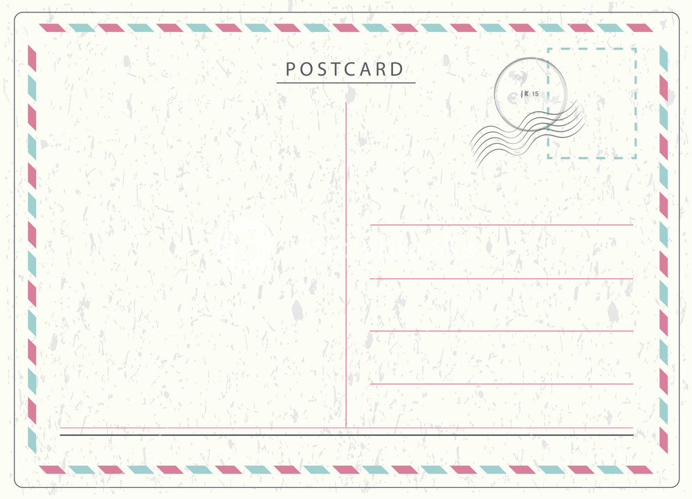 1000x721 Travel Postcard Vector In Air Mail Style With Paper Texture And
