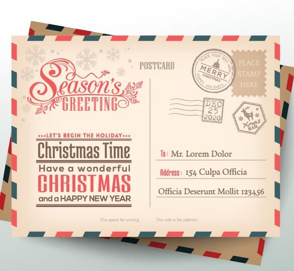 584x538 Vintage Christmas Envelope Postcard Vector 01 Free Download