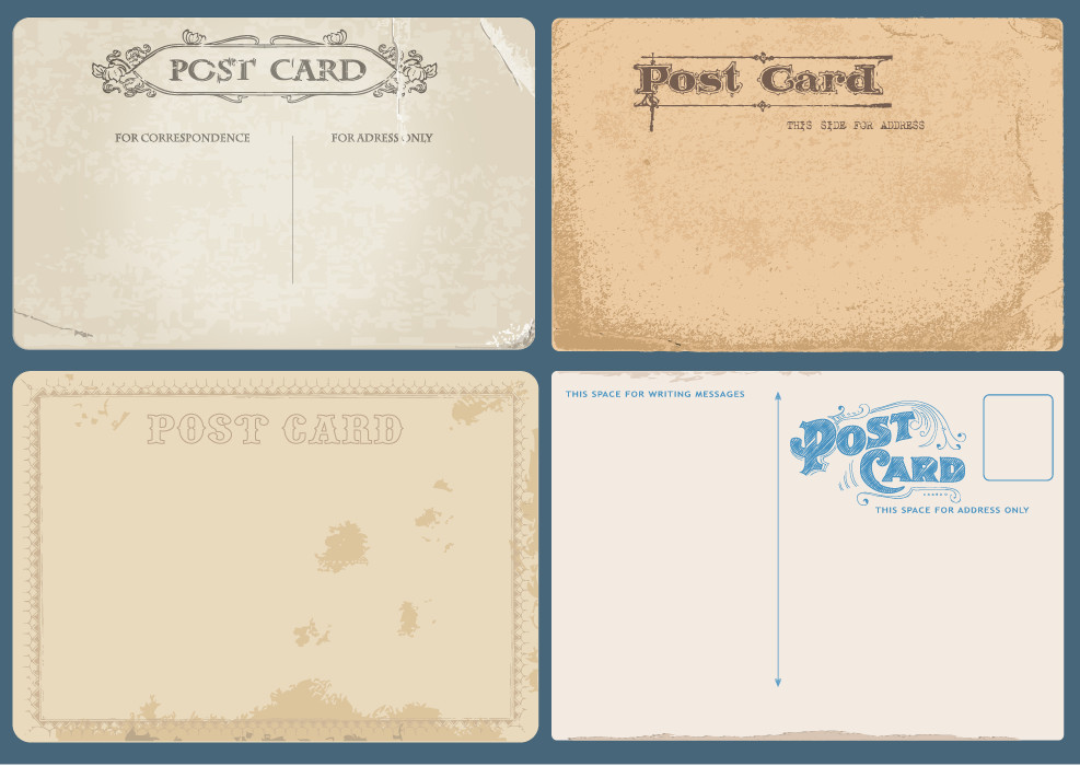 987x700 Vintage Postcard Vector Set Free Download