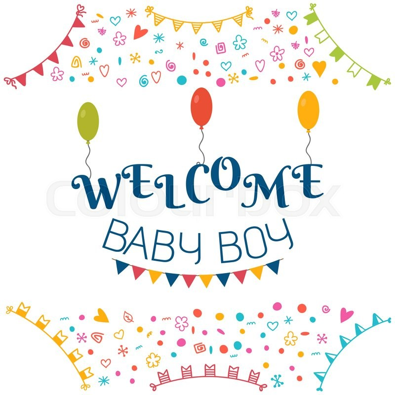 800x800 Welcome Baby Boy. Baby Shower Greeting Card. Cute Baby Boy Shower