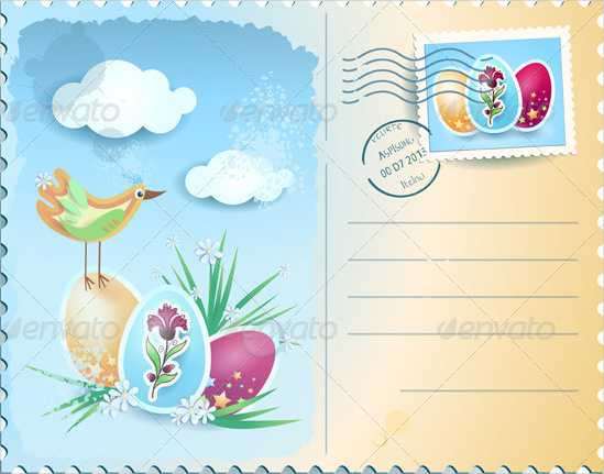 549x431 Easter Postcard Template Free Psd, Eps, Format Download