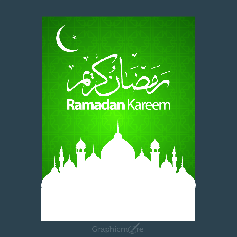 801x801 Ramadan Kareem Green Poster Design Free Vector File
