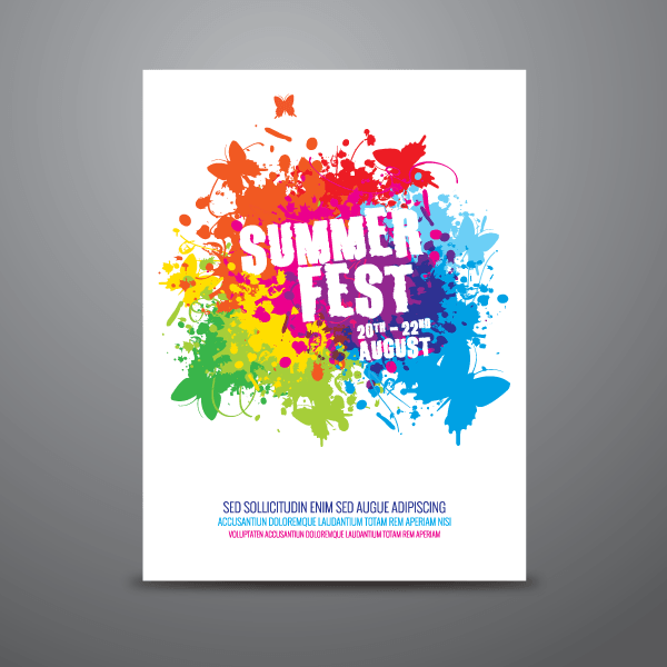 600x600 Summer Festival Poster Design Template Vector 123freevectors