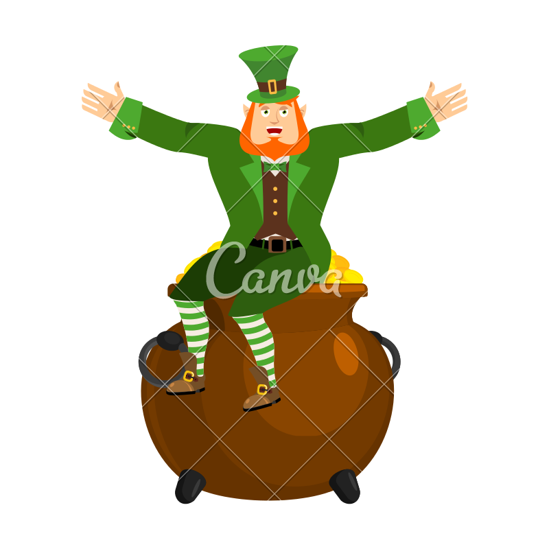 800x800 Leprechaun And Pot Of Gold Vector