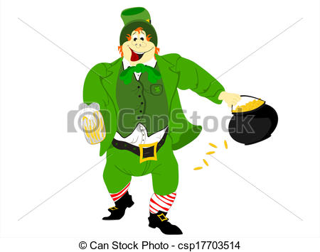 450x355 Leprechaun Beer Pot Of Gold. Editable Eps Vector Format, White