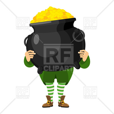 400x400 Leprechaun Holding Pot Of Gold Vector Image Vector Artwork Of