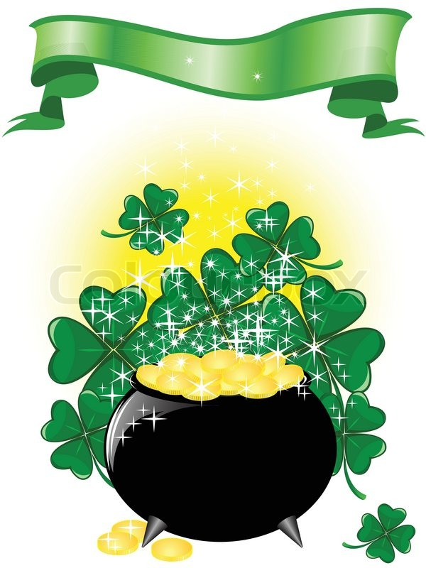 600x800 Leprechaun Pot Of Gold On A Shimmering Background With Clover And