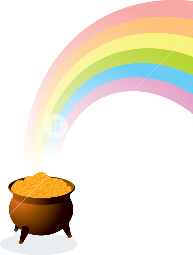 759x1000 Pot Of Gold. Vector. Royalty Free Stock Image