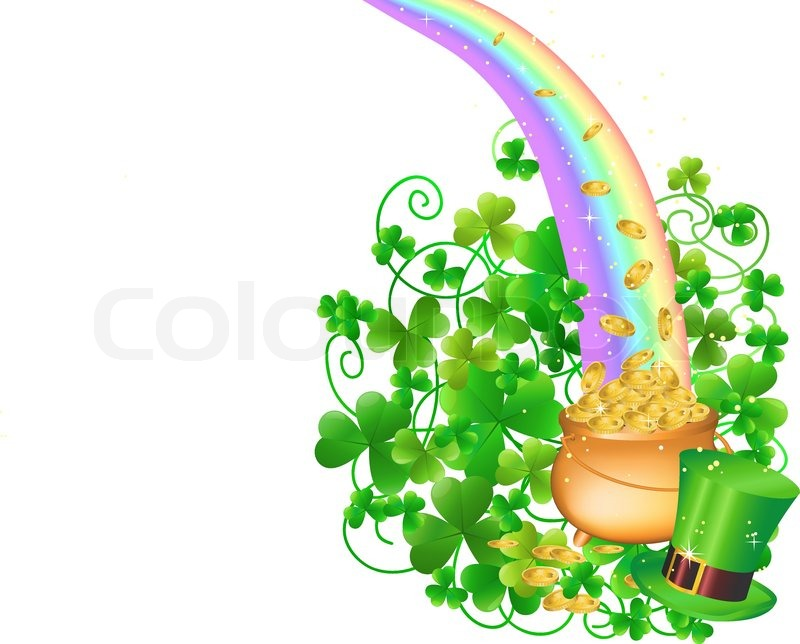 800x644 Pot Of Gold And Rainbow Stock Vector Colourbox