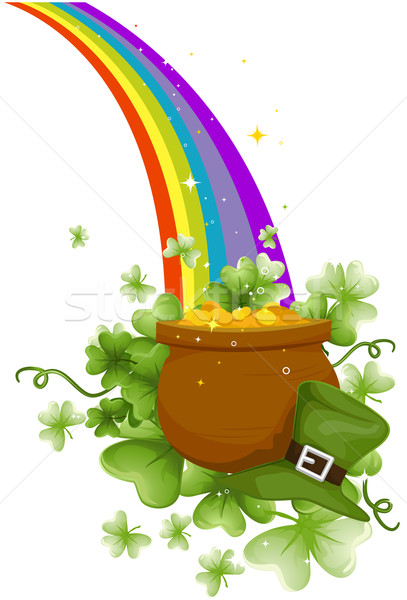 407x600 Pot Of Gold Vector Illustration Lenm ( 401984) Stockfresh