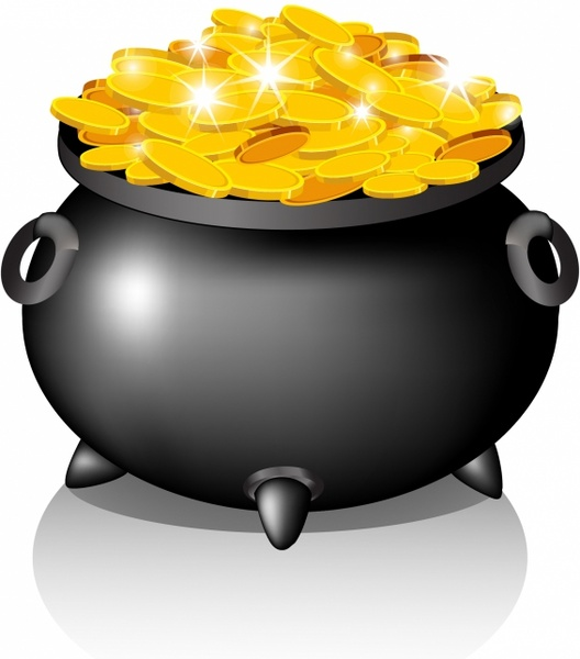 528x600 Pot With Golden Coins Free Vector In Adobe Illustrator Ai ( .ai
