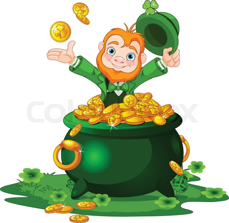 800x779 Cute Cartoon Leprechaun Sitting On Pot Of Gold Stock Vector