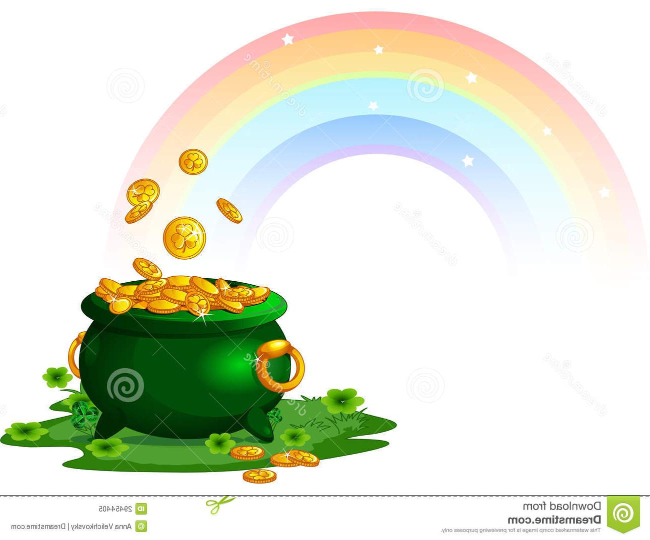 1300x1081 Unique Rainbow With Pot Of Gold Vector File Free Free Vector Art