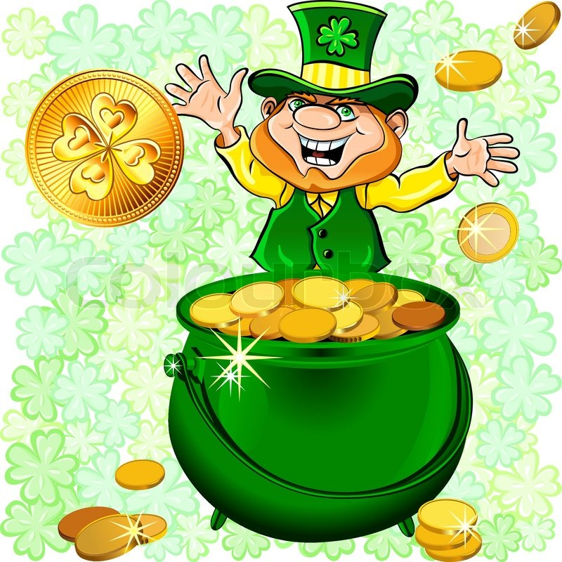 800x800 Easy Leprechaun With A Pot Of Gold Vector St Patrick S Day Happy