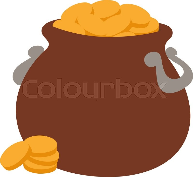800x732 Gold Pot Vector Illustration Icon. Gold Pot Isolated On Background
