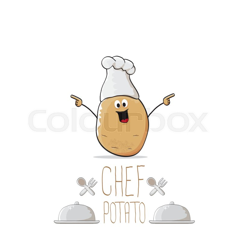 800x800 Vector Funny Cartoon Cute Brown Chef Potato With Mustache And