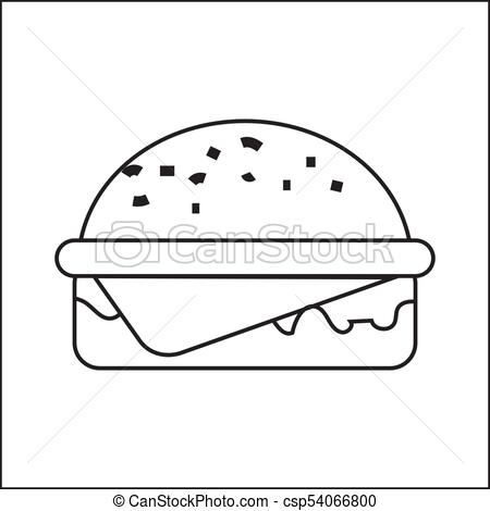450x470 Icon Depicting A Hamburger. A Simple Drawing Without Pouring