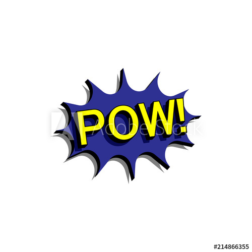 500x500 Comic Speech Bubble With Expression Text Pow. Vector Bright