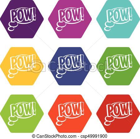 450x449 Pow, Speech Bubble Icon Set Color Hexahedron. Pow, Speech Bubble