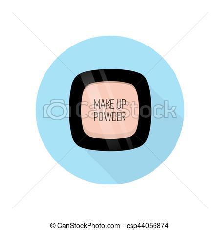 450x470 Make Up Powder. Vector Illustration. Blue Background. Flat Style.