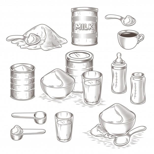 626x626 Vector Set Of Cartoon Illustration Of Milk Powder Vector Free