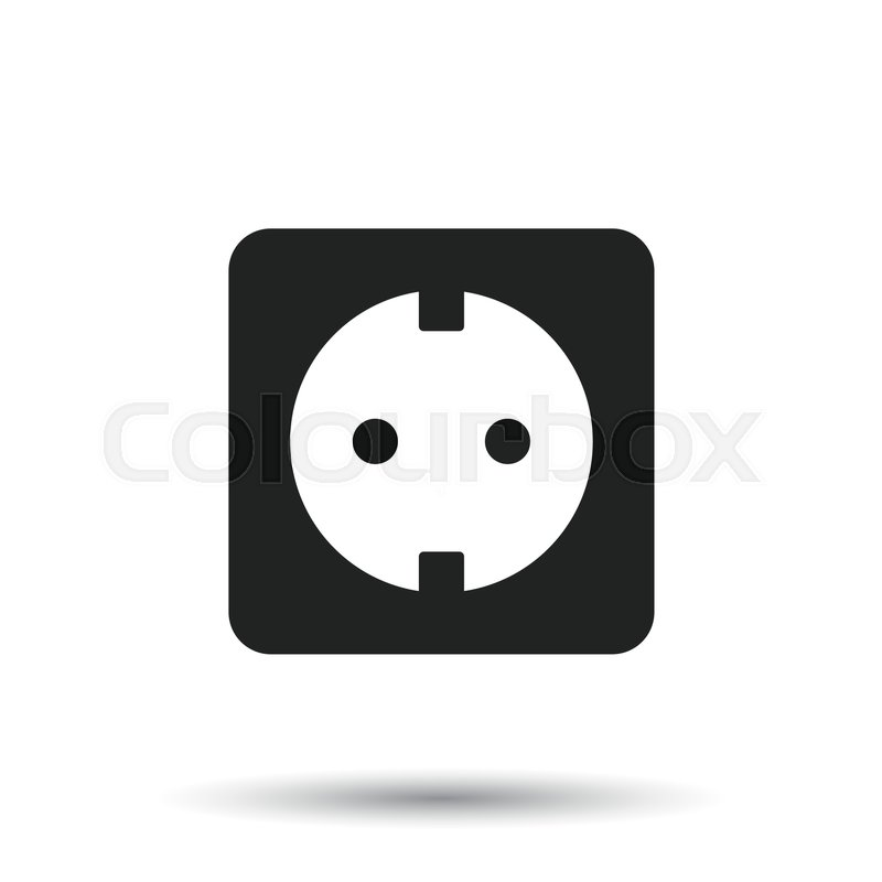 800x800 Extension Cord Vector Icon. Electric Power Socket Flat
