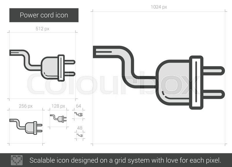 800x576 Power Cord Vector Line Icon Isolated On White Background. Power