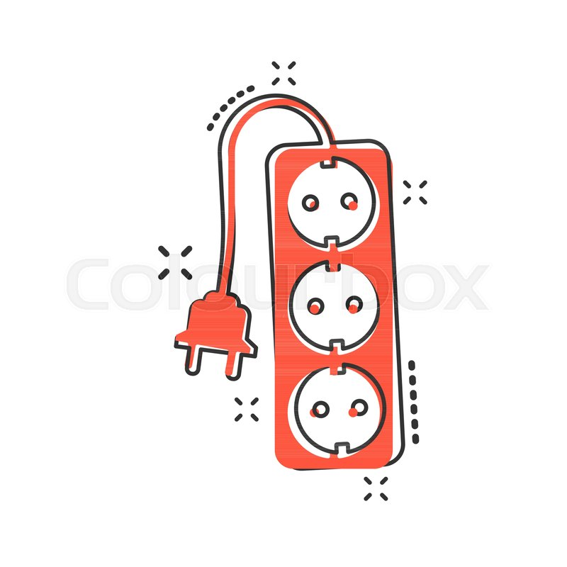 800x800 Vector Cartoon Extension Cord Sign Icon In Comic Style. Electric