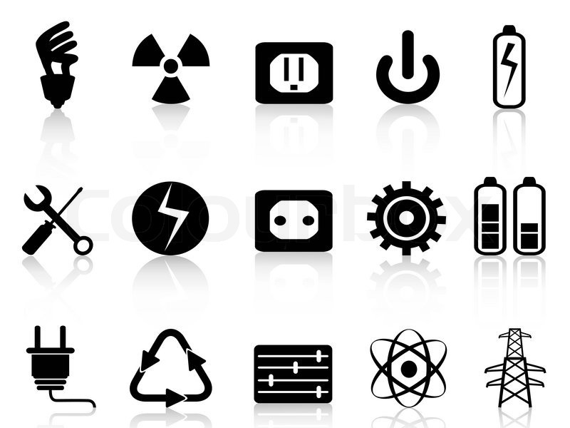 800x600 Electricity And Power Icons Set Stock Vector Colourbox