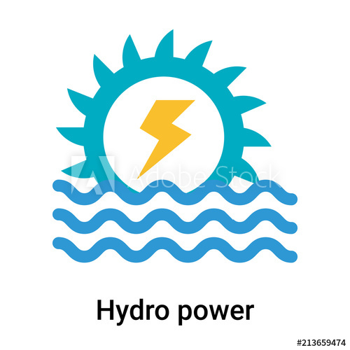 500x500 Hydro Power Icon Vector Sign And Symbol Isolated On White