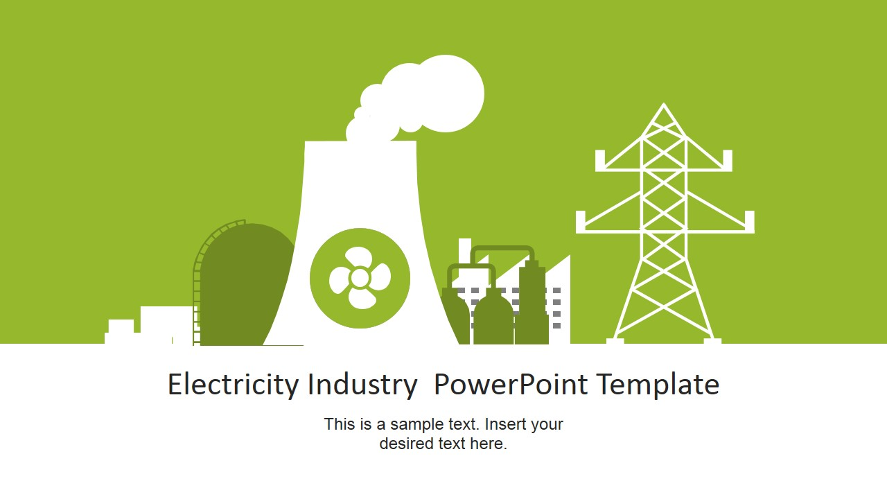 1280x720 Nuclear Power Plant Vector For Electricity Industry Powerpoint