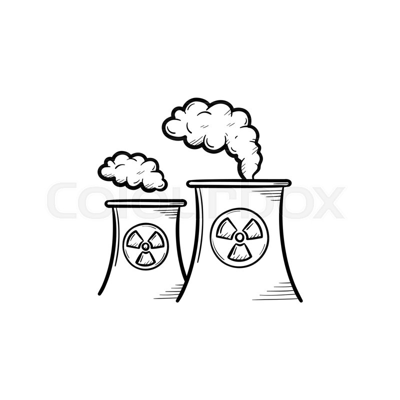 800x800 Nuclear Power Plant With Smoke Hand Drawn Doodle Icon. Pollution