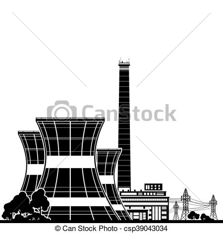 450x470 Silhouette Nuclear Power Plant , Thermal Power Station, Nuclear
