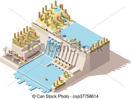 450x341 Vector Isometric Hydro Power Plant Infographic. Vector Isometric