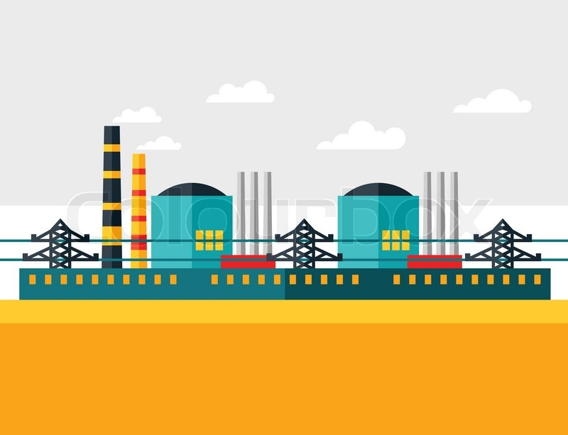 800x613 Illustration Of Industrial Nuclear Power Plant In Flat Style