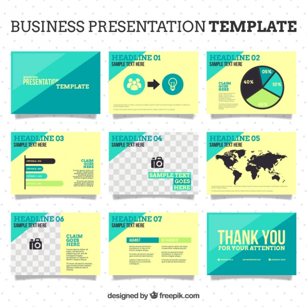 626x626 Business Powerpoint Template Vector Premium Download