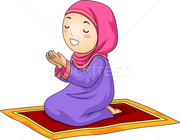 600x466 Kid Girl Muslim Pray Vector Illustration Lenm ( 7201231
