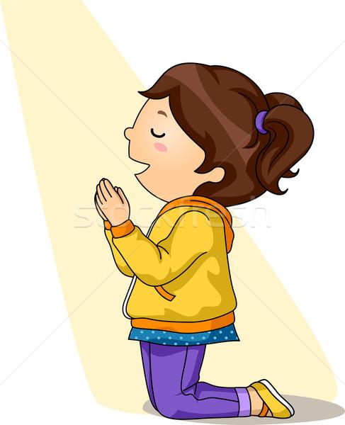 487x600 Kid Girl Pray Vector Illustration Lenm ( 7201234) Stockfresh