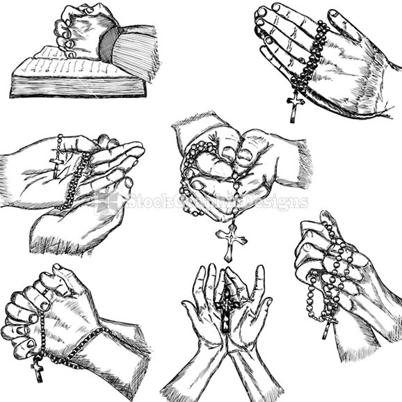 578x578 Hand Drawn Praying Hands Vector Illustration Stockgraphicdesigns