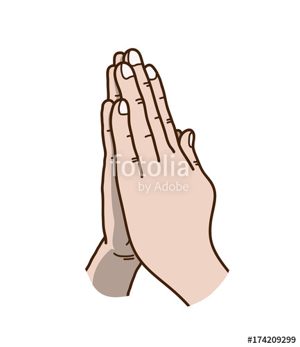 433x500 Praying Hands Vector Illustration, A Hand Drawn Vector Cartoon
