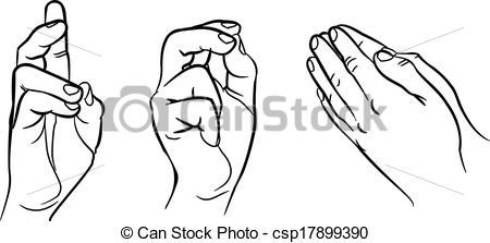 450x223 Praying Hands. Hands In Different Interpretations. Vector