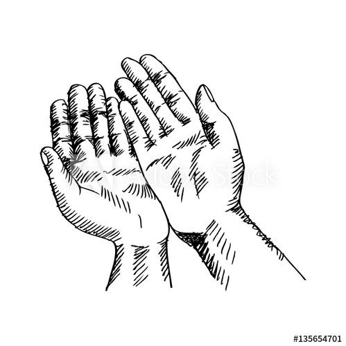 499x500 Sketchy Illustration Of A Praying Hands. Vector Illustration