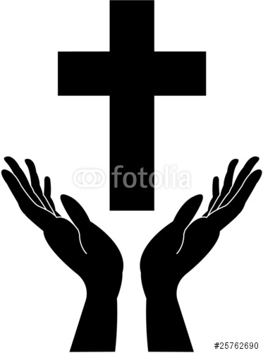 373x500 Cross Silhouette And Praying Careing Hands Vector Stock Image