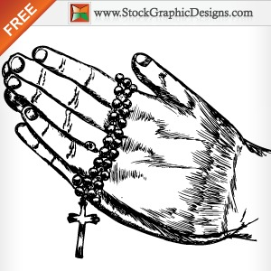 300x300 Hand Drawn Praying Hands Free Vector Illustration Free Vectors