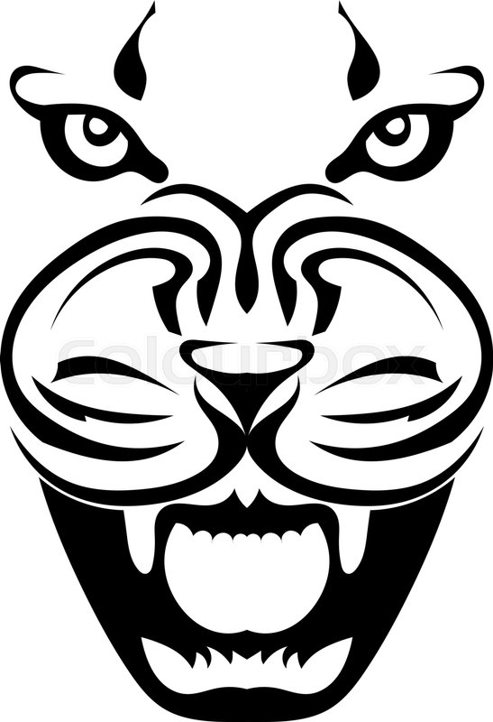 547x800 Silhouette Of A Face Of A Tiger In Full Face, A Grin Of A Predator