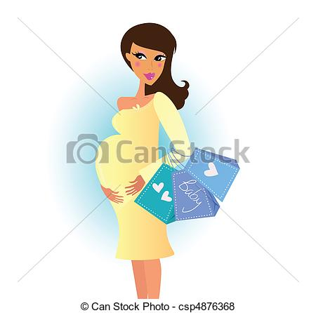 450x446 Shopping Pregnant Woman. Pregnant Woman With Shopping Bags. Vector