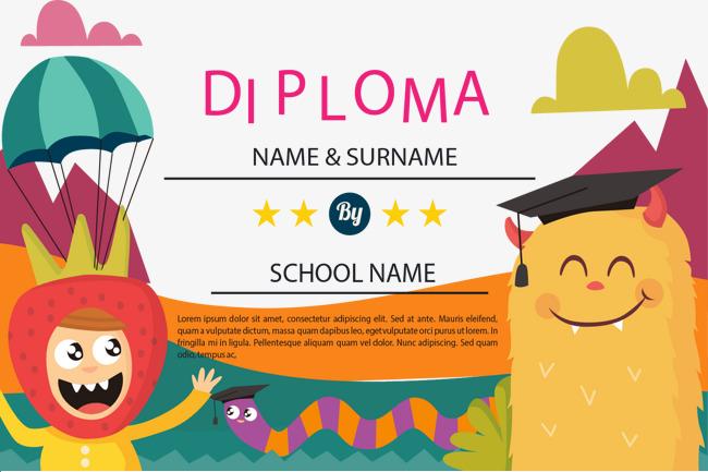 650x433 Lovely Color Children Diploma, Childhood Education, Preschool