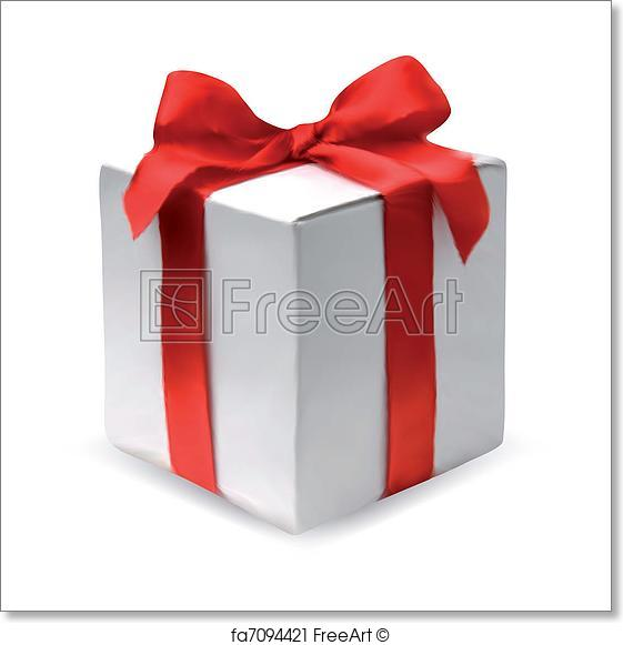 561x581 Free Art Print Of Present Box With Red Bow. Vector. Present Box